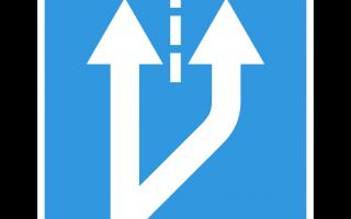 Начало полосы дорожный знак